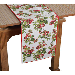 Bilberry Furnishing By Preeti Grover 100 Cotton Multicolor Elegant Print Table Runner (TR23) - (Table Runner Size 14x72)