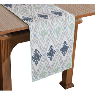 Bilberry Furnishing By Preeti Grover 100 Cotton White  Sea Green Printed Table Runner (TR25) - (Table Runner Size 14x36)
