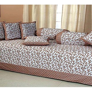 HomeStore Brown Floral Pattern Cotton Diwan Cover (Pack of 8)