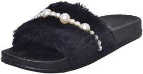 Fashion Diva Women's Black Slip On Slipper (Euro 36) - 141931976