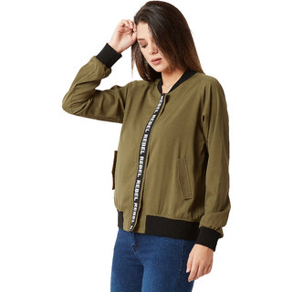 038f058f7 Miss Chase Women's Olive Green Round Neck Solid Twill Tape Full Sleeves  Bomber Jacket