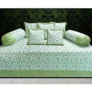 home store yep Cotton Diwan Set of 8 Pcs - 1 Bedsheet, 5 Coushion Covers , 2 Bolster Covers (Green)