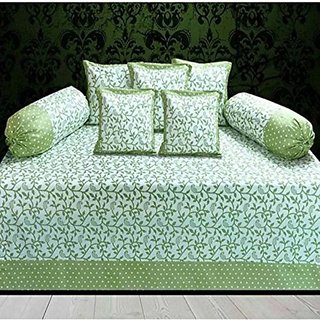 home store yep Green Set Of 8 Nature and Floral Diwan Cotton 1 Bedsheet, 5 Coushion Covers, 2 Bolster Covers