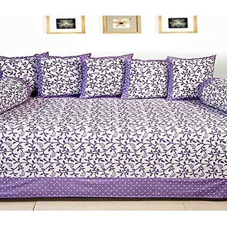 HomeStore-YEP Cotton Diwan Set of 8 Pcs - 1 Bedsheet, 5 Coushion Covers , 2 Bolster Covers (Wine)