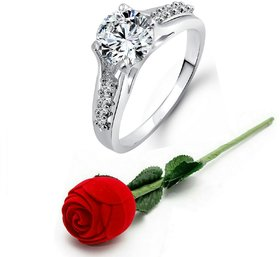 Vighnaharta Engagement Solitaire CZ Rhodium Plated Alloy Ring with Rose Ring Box for Women and Girls - VFJ1029ROSE8