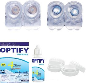 Optify Combo Pack Hazel & Blue Monthly Contact Lens  (0, Hazel, Sea BLue,  Pack of 4)