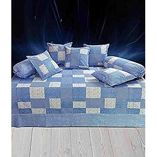 HomeStore-YEP Cotton Diwan Set of 8 Pcs - 1 Bedsheet, 5 Coushion Covers , 2 Bolster Covers (Blue)