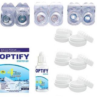 Optify Pack of 6 Aqua, Hazel & Sea Blue Monthly Contact Lens  (0, Aqua, Hazel, Sea Blue, Pack of 6)