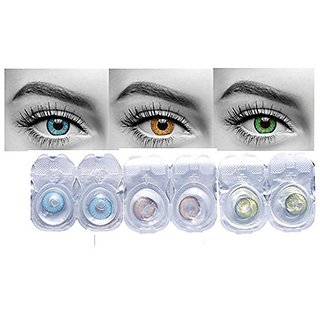 Optify Blue, Honey & Green Monthly Contact Lens (0, Blue, Honey & Green, Pack of 6)