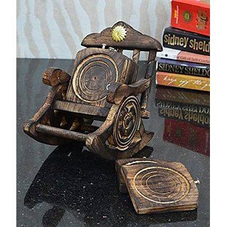 Shilpi Wooden Coasters Rocking Chair Shape/Table Coaster Set of 6 For Tea Cups