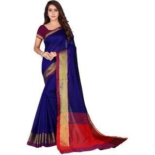 Fabwomen Sarees Zari Work Blue And Red  Coloured Kanjivaram Silk Traditional Party Wear Women's Saree/Sari With Blouse Piece.