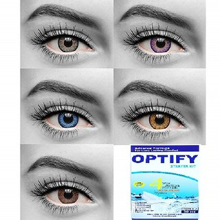 Optify Grey, Voilet, Blue, Hazel Honey Colored Monthly Disposable 0 Power Contact Lens (Pack of 10)