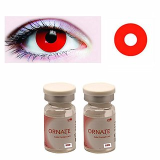 Optify Red Monthly Contact Lens (0, Red, Pack of 2)