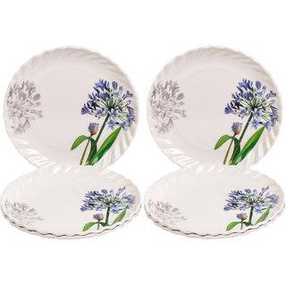 Czar 6 Pcs White Half Plate Blue flower