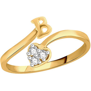 Sukai Jewels Heart Initial 'B' Gold Plated Alloy & Brass Cubic Zirconia Alphabet Finger Ring for Women and Girls [SAFR173G]