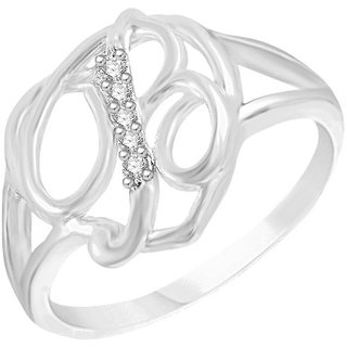 Sukai Jewels Intial 'B' Heart Rhodium Plated Alloy & Brass Cubic Zirconia Finger Ring for Women & Girls [SAFR209R]