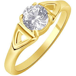 Sukai Jewels Center Single Solitaire Gold Plated Alloy & Brass Cubic Zirconia Fimger Ring for Women & Girls [SFR798G]