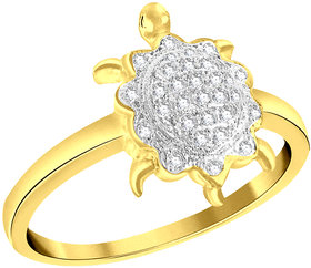 Sukai Jewels Glittering Tortoise Gold Plated Alloy & Brass Cubic Zirconia Fimger Ring for Women & Girls [SFR812G]