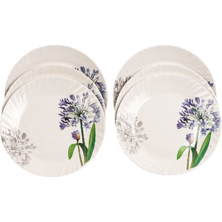 Czar 6 Pcs White Small Plate Blue flower