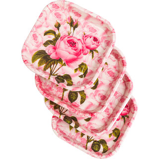 Czar 4 Pcs Snacks Pink Rose Plates