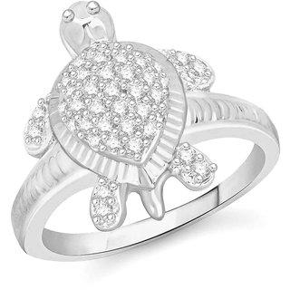 Sukai Jewels Money Tortoise Rhodium Plated Alloy Brass Cubic Zirconia Fimg