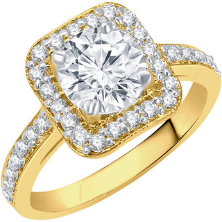 Sukai Jewels Royal Look Gold Plated Alloy & Brass Cubic Zirconia Finger Ring For Women & Girls [SFR816G]