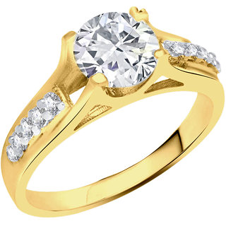 Sukai Jewels Center Single Solitaire Gold Plated Alloy & Brass Cubic Zirconia Finger Ring For Women & Girls [SFR817G]