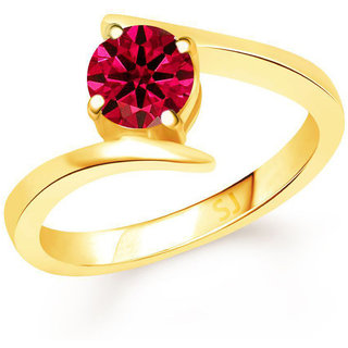 Sukai Jewels Red Solitaire Gold Plated Alloy  Brass Cubic Zirconia Finger Ring for Women  Girls SFR872G