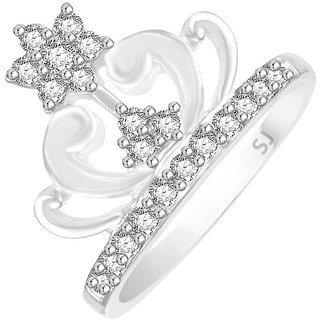 Sukai Jewels Queen Crown Rhodium Plated Alloy Brass Cubic Zirconia Finger