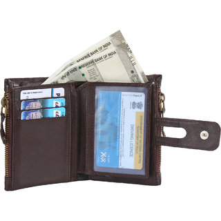 DIDE Genuine Leather Wallet Premium High Quality Women Bi-folding, Multi Card Holder with Zipper Side Coin Pouch (Brown)