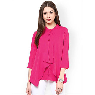 BLANCORA Women's Casual 3/4th Sleeve Solid Pink Top