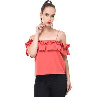 f7596182b66a1 Buy BuyNewTrend Women s Pink Self Design Crepe Off-Shoulder Tops ...