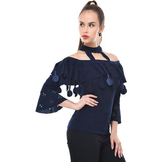 1fb4d125bd75a BuyNewTrend Women s Navy Self Design Crepe Off Shoulder Cut -Outs Tops