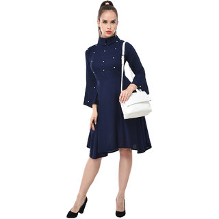 BuyNewTrend Womens Navy Self Design Rayon Shirt Collar Fit & Flare Dress