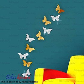Bikri Kendra - 3D Acrylic Mirror Wall Stickers For Drawing Room Living Room Bed Room Kids Room Home & Office - 2 Sets Butterfly