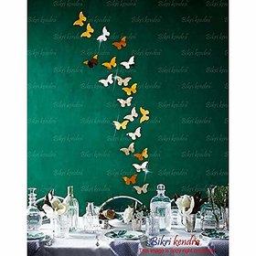 Bikri Kendra - Butterfly 10 Silver 10 Golden - 3D Acrylic Mirror Wall Stickers - B071JFMP3X