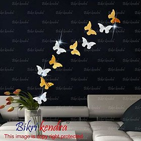 Bikri Kendra - 3D Acrylic Mirror Wall Stickers For Drawing Room Living Room Bed Room Kids Room Home & Office - 5 Golden 5 Silver Butterfly ( 2 Set )