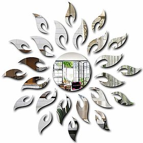 Bikri Kendra Mirror Sun With Flames Silver (1.5 Feet X 1.5 Feet) - 3D Acrylic Mirror Wall Stickers For Home & Office