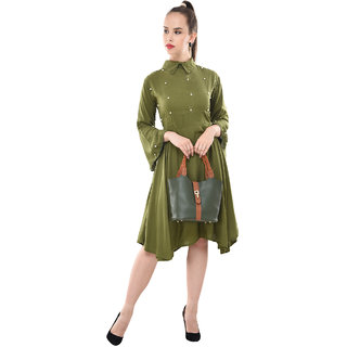 BuyNewTrend Womens Green Self Design Rayon Shirt Collar Fit & Flare Dress