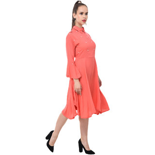 BuyNewTrend Womens Pink Self Design Rayon Shirt Collar Fit & Flare Dress