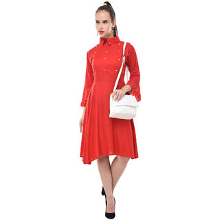 BuyNewTrend Women's Red Self Design Rayon Shirt Collar Fit & Flare Dress