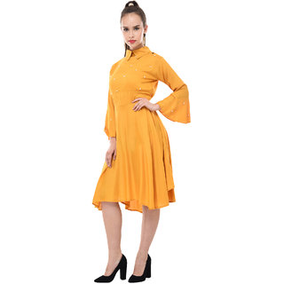 BuyNewTrend Womens Yellow Self Design Rayon Shirt Collar Fit & Flare Dress