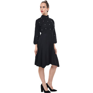 BuyNewTrend Womens Black Self Design Rayon Shirt Collar Fit & Flare Dress