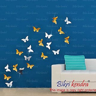 Bikri Kendra Butterfly 10 Silver And 10 Golden - 3D Acrylic Mirror Wall Stickers For Home & Office - Factory Outlet