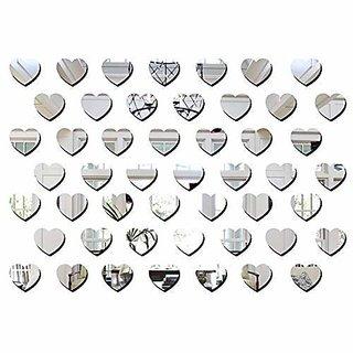 Bikri Kendra Hearts Silver 50-3D Acrylic Mirror Wall Decor Sticker
