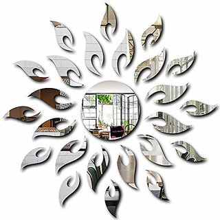 Bikri Kendra - Sun Silver { 1.5 Feet * 1.5 Feet } - 3D Acrylic Mirror Wall Stickers For Home & Office - Factory Outlet