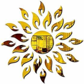 Bikri Kendra - Sun Golden { 1.5 Feet X 1.5 Feet } - 3D Acrylic Mirror Wall Stickers For Home & Office - Factory Outlet