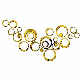 Bikri Kendra 3D Acrylic Mirror Wall Decor 24-Piece Golden Rings Stickers for Drawing Living and Bedroom Kids Room Home and Office