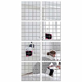 Bikri Kendra 200 Square Silver - 3D Acrylic Mirror Wall Stickers For Home & Office
