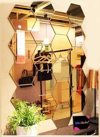 Bikri Kendra - Hexagon 19 Golden - 3D Acrylic Mirror Wall Stickers - B078JHBDFQ